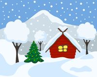 Winter landscape, vector illustration. Cartoon flat style. royalty free illustration
