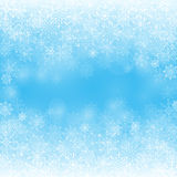 Winter Snow Background with Different Snowflakes Stock Photo