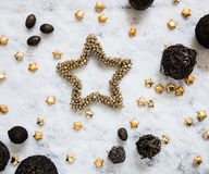 Winter snow background with golden stars and round natural textures Royalty Free Stock Photography