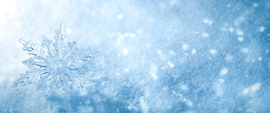 Winter snow background. Snowflake Closeup Royalty Free Stock Images