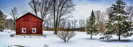 Winter Snow Barn Panorama Scene Royalty Free Stock Photos