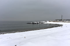 Winter Snow on the Beach Royalty Free Stock Photography
