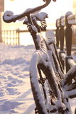 Winter snow on a bicycle Stock Image