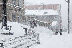 Winter snow blowing Stock Images