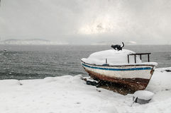 Winter Snow Boat Royalty Free Stock Photos