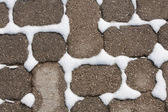 Winter: Snow Between Brick Pavers Stock Image