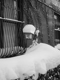 Winter snow in brooklyn. On window royalty free stock images