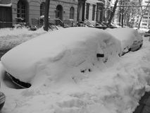 Winter snow in brooklyn on cars. Winter snow in brooklyn on parked cars royalty free stock photos