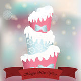 Winter snow cake greeting card Stock Photography