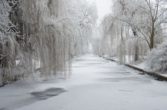 Winter snow on canal Royalty Free Stock Photography