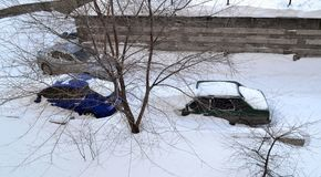 Winter and snow. In the city of Rostov-on-Don.  Photo taken on: January 30 Thursday, 2014 Royalty Free Stock Image