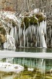 Winter, snow, cold, lake frozen, colorado, co, hidden lake stock photography