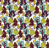 Winter snow color forest and wild animals seamless pattern. Stock Photography