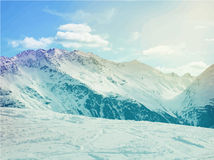 Winter snow covered Alpine mountain Stock Image
