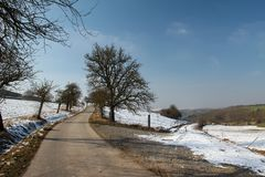Winter. Snow covered fields frosty winter morning.  royalty free stock photo
