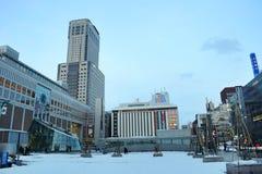 The winter view of Sapporo metro station, Hokkaido, Japan 2018 stock photo