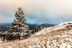 Winter snow covered mountain peaks in Europe Royalty Free Stock Image