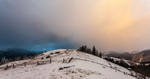 Winter snow covered mountain peaks in Europe Stock Images