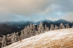 Winter snow covered mountain peaks in Europe Stock Photography