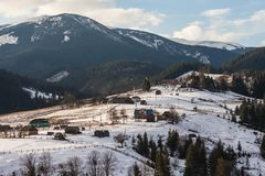 Winter snow covered mountain peaks in Europe. Royalty Free Stock Images