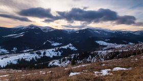 Winter snow covered mountain peaks in Europe. Royalty Free Stock Photography