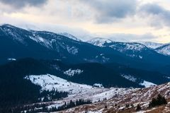 Winter snow covered mountain peaks in Europe. Royalty Free Stock Photos