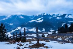 Winter snow covered mountain peaks in Europe. Stock Images