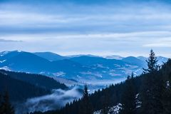 Winter snow covered mountain peaks in Europe. Stock Photography