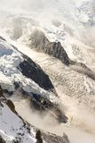 Rock structure of Mont-Blanc Montain with snow, french alps stock photos