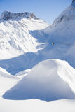 Winter, snow covered mountain with ski lift and slopes Stock Photography