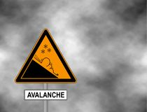 Winter snow covered mountains and warning sign of avalanche danger isolated on a grey sky. Danger sign avalanches of ice and snow. At highway or road. Vector Stock Photos