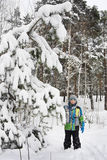 In winter, snow-covered pine forest a boy standing in the snow. Stock Photos