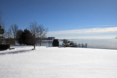 Winter snow covered shore Royalty Free Stock Images