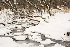 Winter Snow Covered Stream Stock Photography