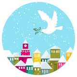 Winter Snow-covered Town And White Dove With Green Branch Royalty Free Stock Photos