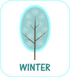 Winter. Snow covered tree with snowflakes and the words Winter Royalty Free Illustration