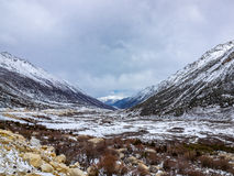 Winter snow covered the valley and the high mountain in Sichuan Royalty Free Stock Photo