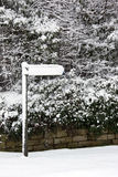 Winter snow covering a sign - England Royalty Free Stock Image