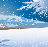 Winter Snow-Fall. Vector illustration of a view of  the winter and snow falling to the ground and the tree branches are fully covered by snow Stock Image