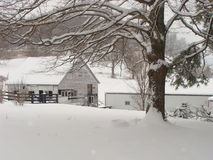 WINTER SNOW ON THE FARM Stock Photo