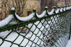 Winter snow fencing. Building security, winter texture Stock Photos