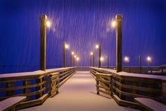 Winter Snow, Fishing Pier, Richmond, BC Royalty Free Stock Image