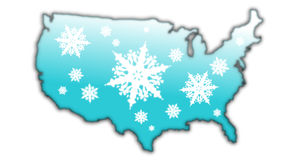 Winter snow flake Map USA. Map of the USA with a blue surface covered in snow flake designs Royalty Free Stock Photos