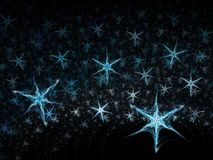 Winter snow flakes 3D. Abstract fractal background. Computer generated graphics. Snow flakes texture Stock Images