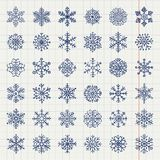 Winter Snow Flakes Doodles Stock Photos