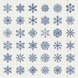 Winter Snow Flakes Doodles Stock Photos