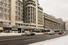 Winter Snow On Gheorghe Magheru Boulevard Downtown Bucharest Royalty Free Stock Images