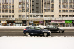 Winter Snow On Gheorghe Magheru Boulevard Downtown Bucharest Stock Image