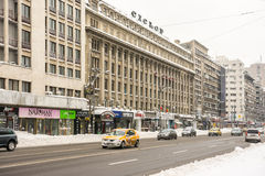 Winter Snow On Gheorghe Magheru Boulevard Downtown Bucharest Stock Photography