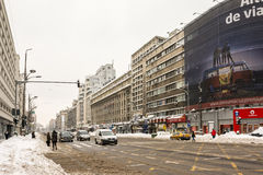 Winter Snow On Gheorghe Magheru Boulevard Downtown Bucharest Stock Photo